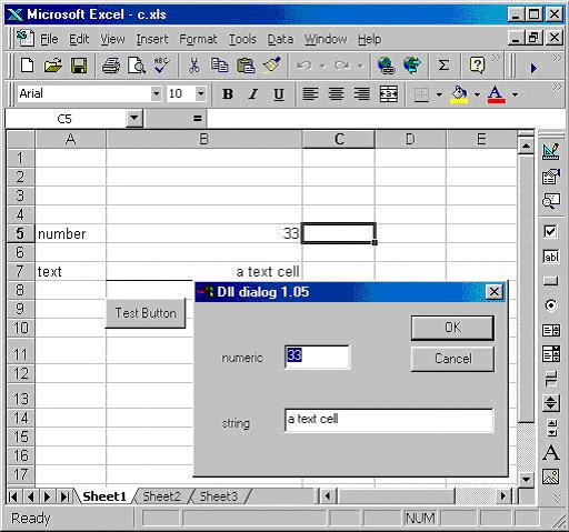 C Program called from Excel
